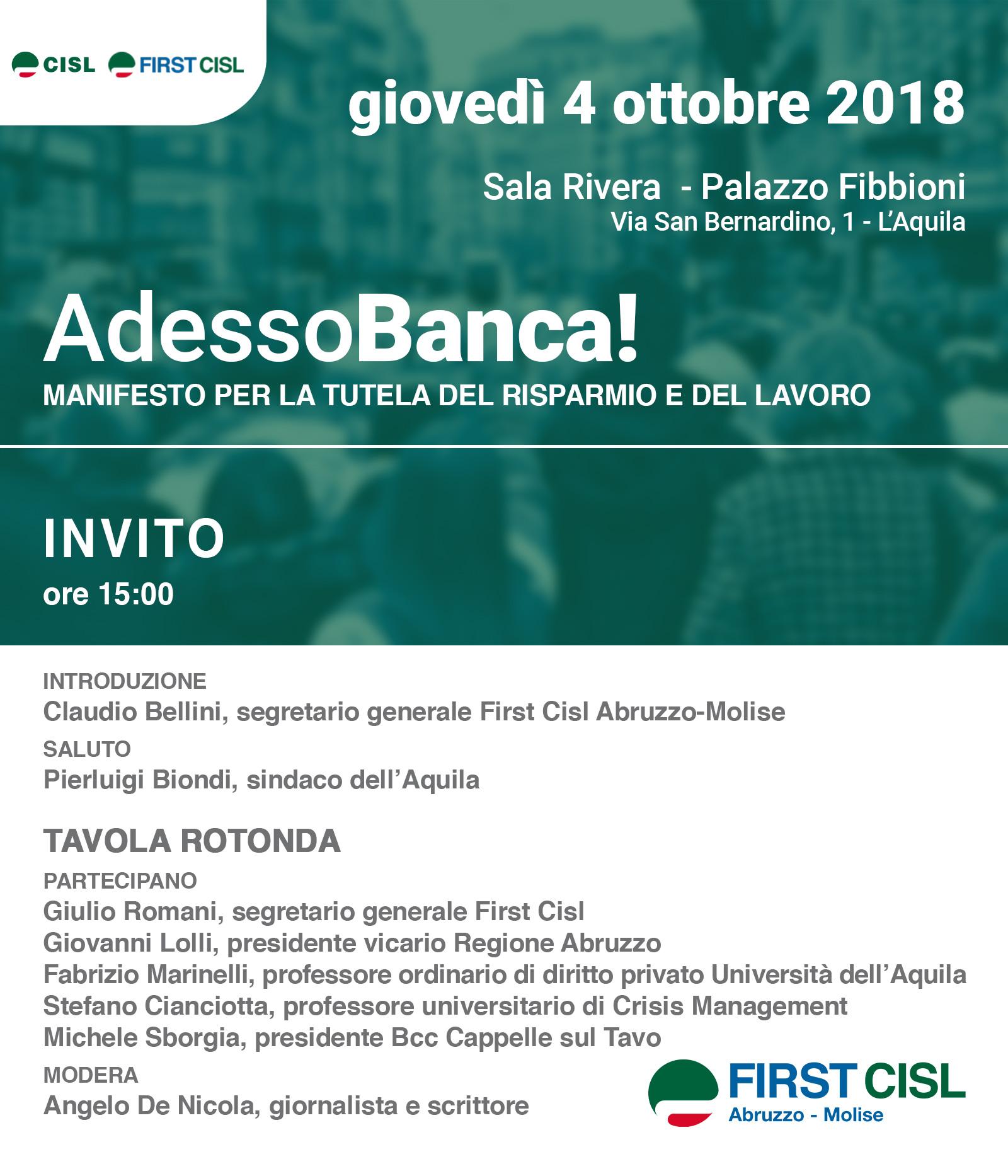 AdessoBanca!, si parlerà a L'Aquila della proposta FIRSTCISL per una riforma socialmente utile del sistema bancario.