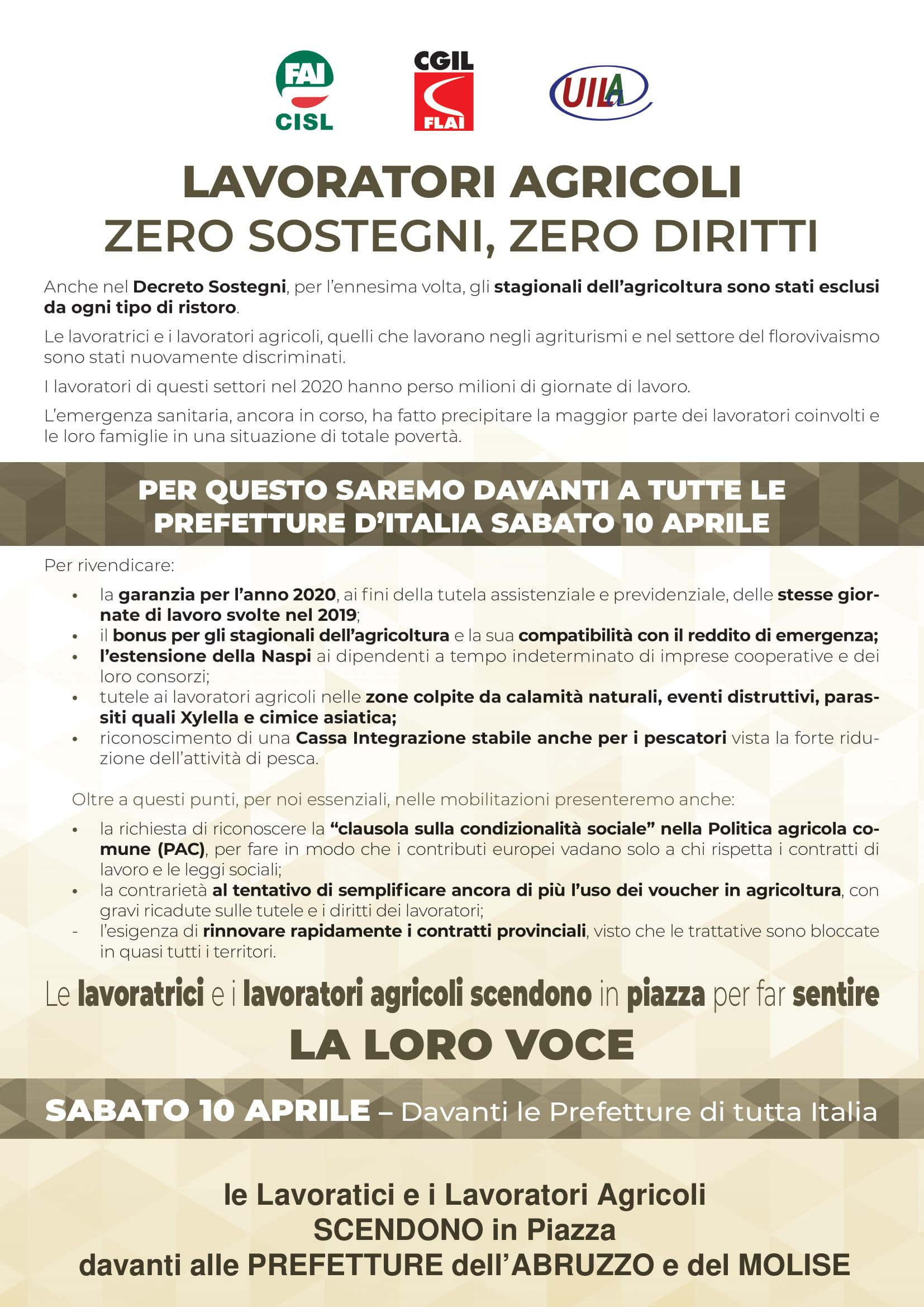 Sabato 10 Aprile 2021 Protesta lavoratrici e  lavoratori agricoli stagionali  davanti alle Prefetture in Abruzzo e in Molise