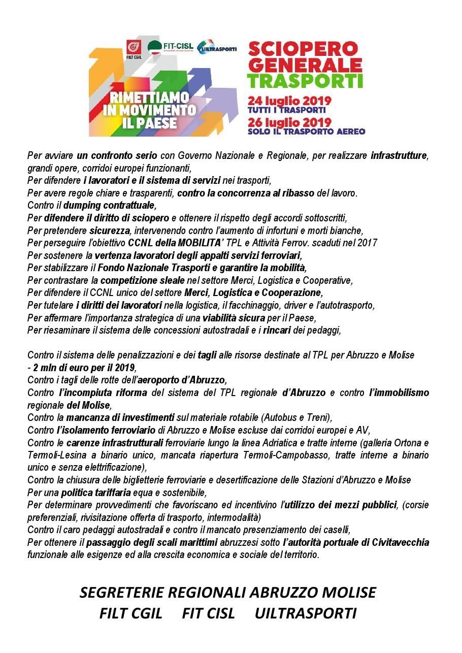 sciopero generale trasporti 24 e 26 luglio 2019